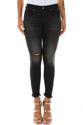 Mid Rise Denim Ankle Jeans Black