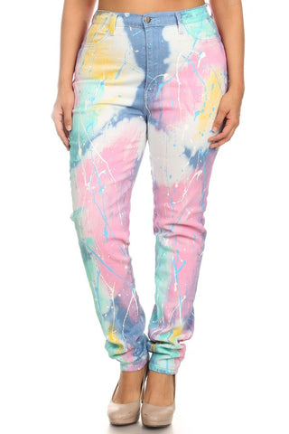 Splatter Paint Denim High Waist