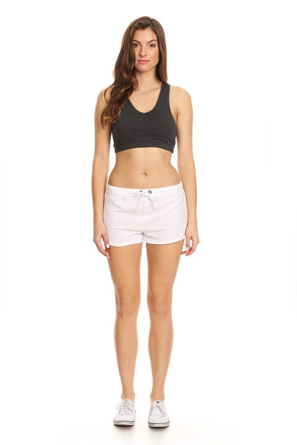Solid Loop Terry Casual Basic Hot Pants