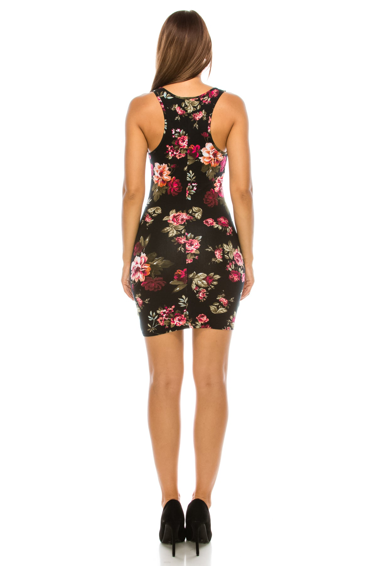 Flower Print Bodycon Dress Black