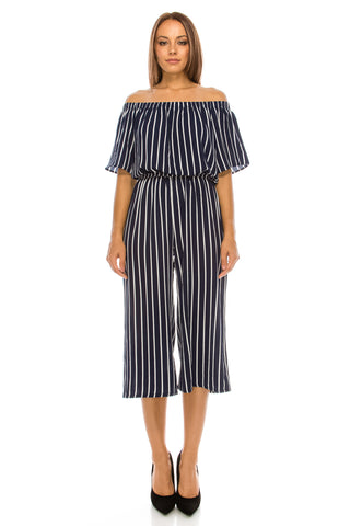Off Shoulder Stripe Gaucho Navy