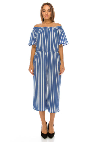 Off Shoulder Stripe Gaucho SkyBlue