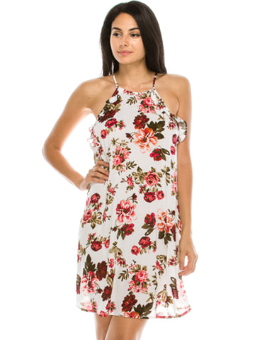 Woven Flower Print Ruffled Dress Ivory
