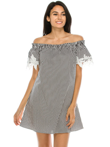 Off Shoulder Stripe Woven Dress Black