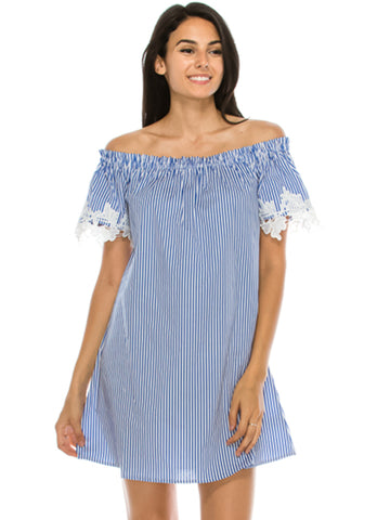 Off Shoulder Stripe Woven Dress Blue