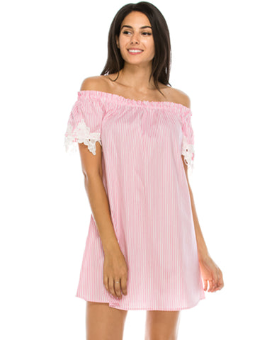 Off Shoulder Stripe Woven Dress Pink