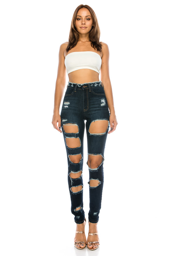 Front&Back Destruction High Rise Skinny Jeans