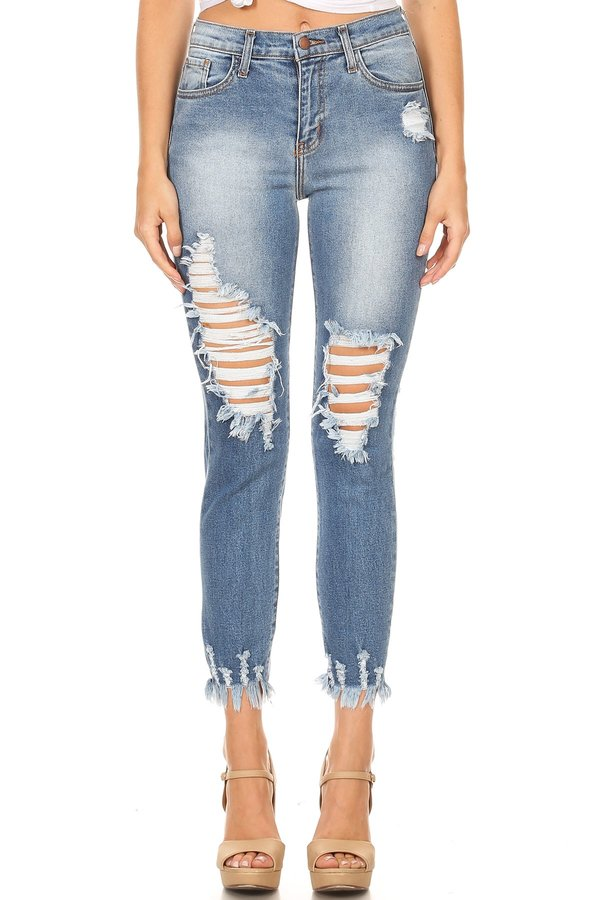 High Rise Jeans Heavy Distressing Thighs & Ankles