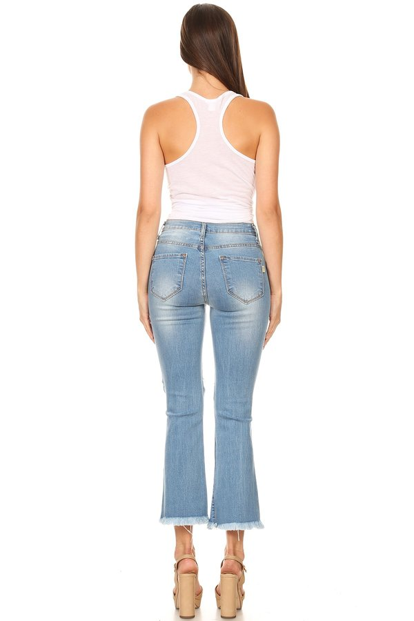 High Rise Distressed Crop Flare Jeans