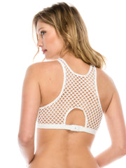 High Neck Fishnet Bralette White