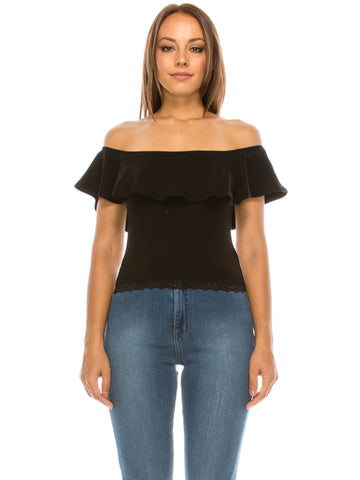 Ruffled Off Shoulder Crop Top Black