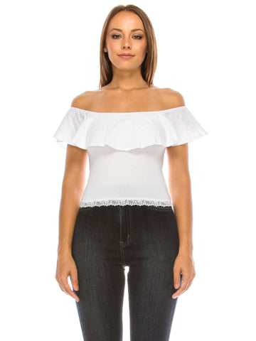 Ruffled Off Shoulder Crop Top White