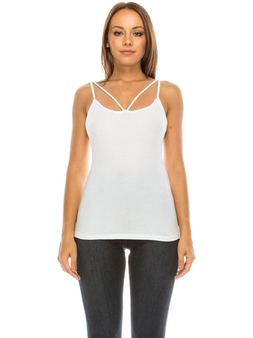 V Spagetti Basic Top White