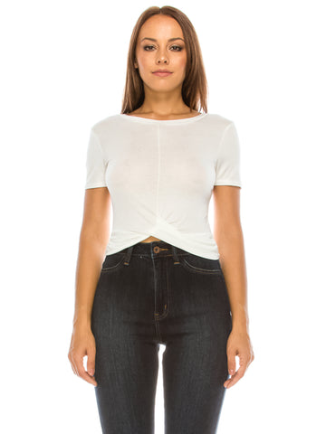 Front Twist Crop Top White