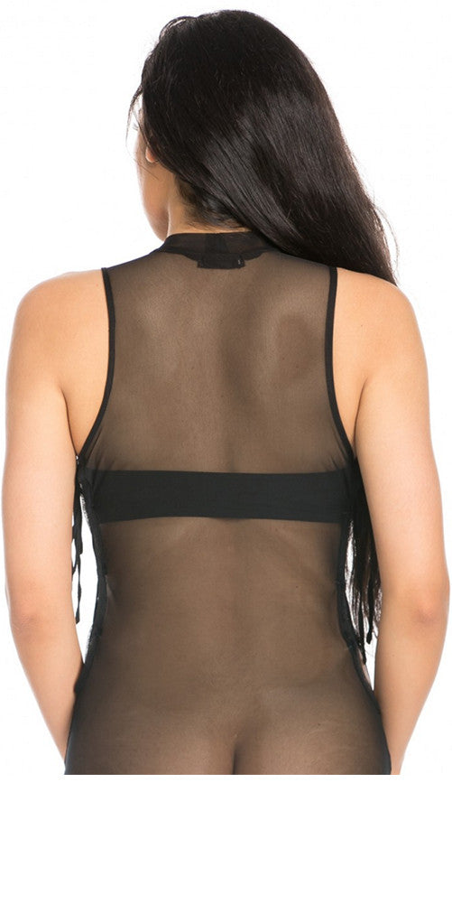 Mesh Mock NK Bodysuit Black