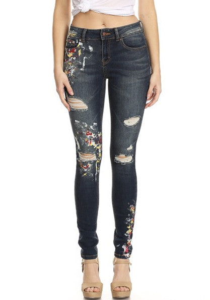 latest jeans women mid rise dark blue painted destroyed skinny cheap shop fashion style