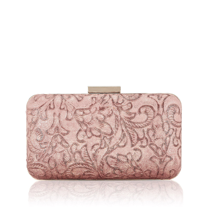 CLUTCH PIEL BROCADA ROSA DAMASCO BRILLO