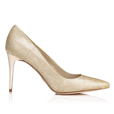 ZAPATO STILETTO EN GLITTER DORADO CON TACON EN ORO - DISEÑO EXCLUSIVO JUST-ENE