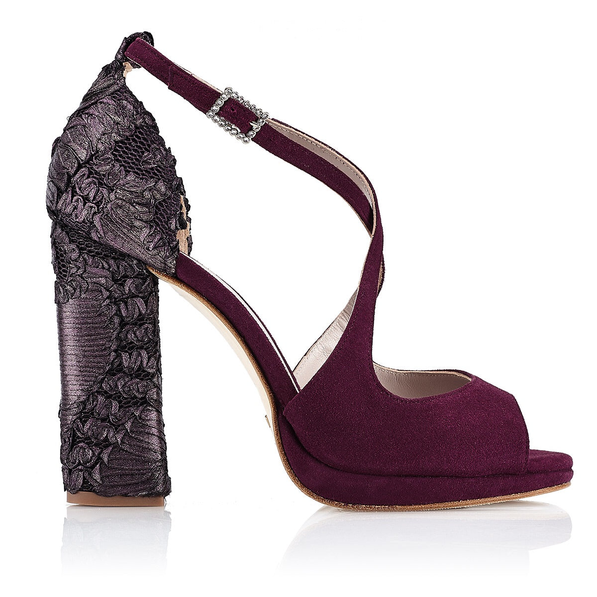 WINE CELESTINA SANDAL ( 10 cm with platform ) - Just-ENE