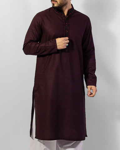 Image of Men Men Kurta Byzentium (Dark Purple) colored 100% Cotton Kurta with emboidery and thread work. Product Code RK-15036