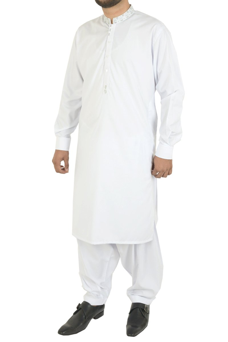 Image of Men Men Shalwar Qameez in White SKU: RQ-40215-Small-White