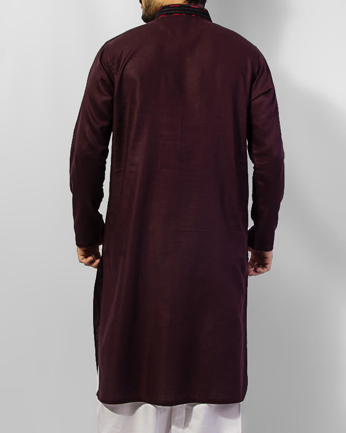 Byzentium (Dark Purple) colored 100% Cotton Kurta with emboidery and thread work. Product Code RK-15036