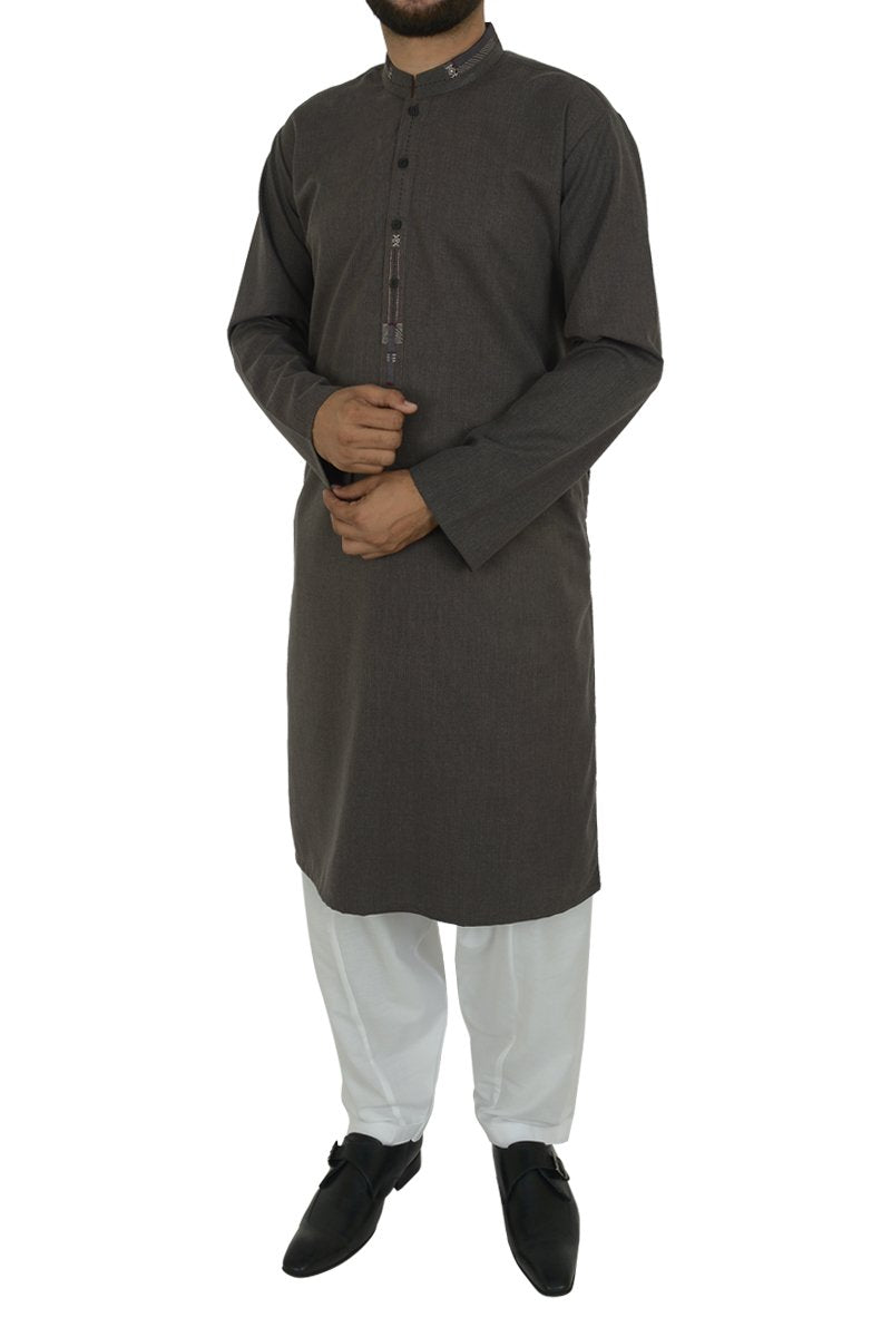 Image of Men Men Kurta in Charcoal SKU: RK-39493-Small-Charcoal