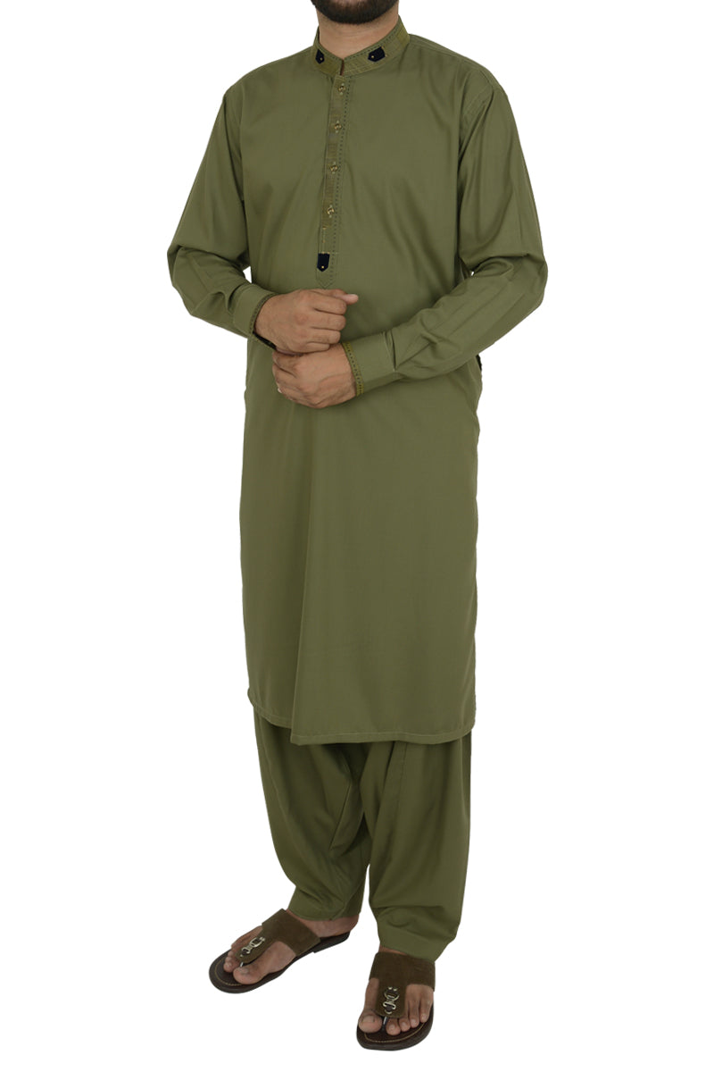 Image of Men Men Shalwar Qameez in Green SKU: RQ-40203-Small-Green