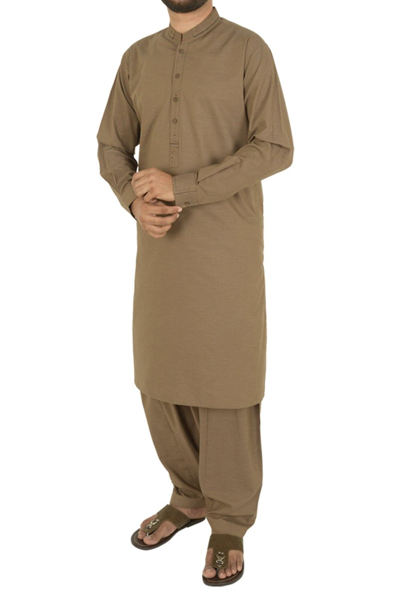 Image of Men Men Shalwar Qameez in Brown SKU: RQ-40205-Small-Brown