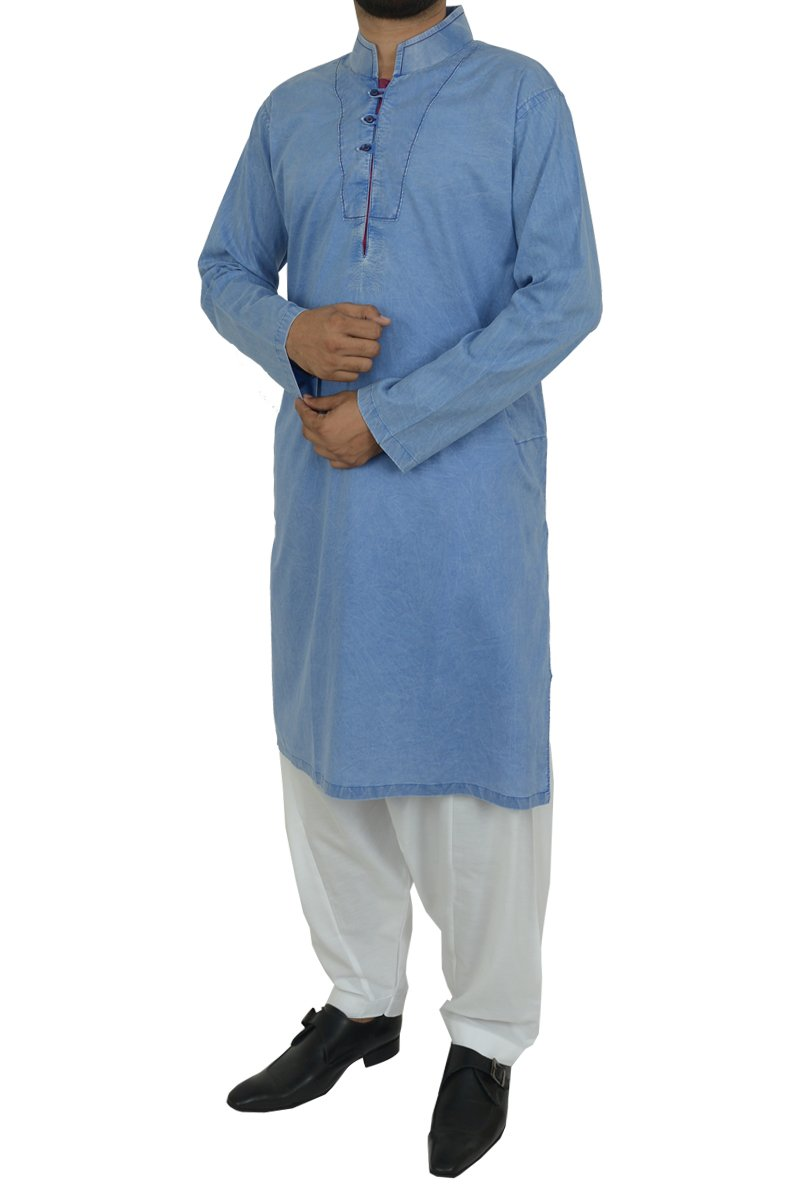 Image of Men Men Kurta in Afghan Blue SKU: RDK-40102-Small-Afghan Blue