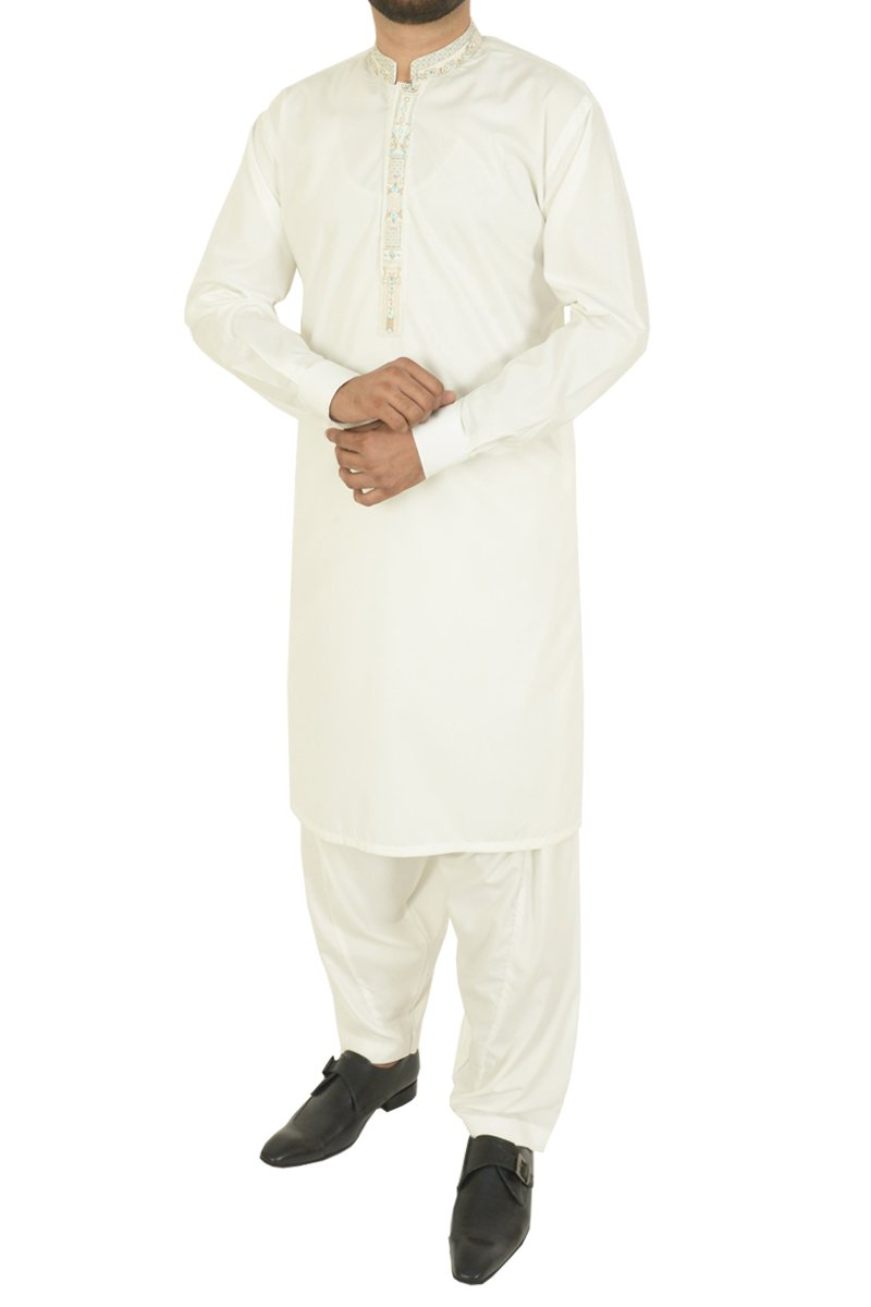 Image of Men Men Shalwar Qameez in Off White SKU: RQ-40213-Small-Off White