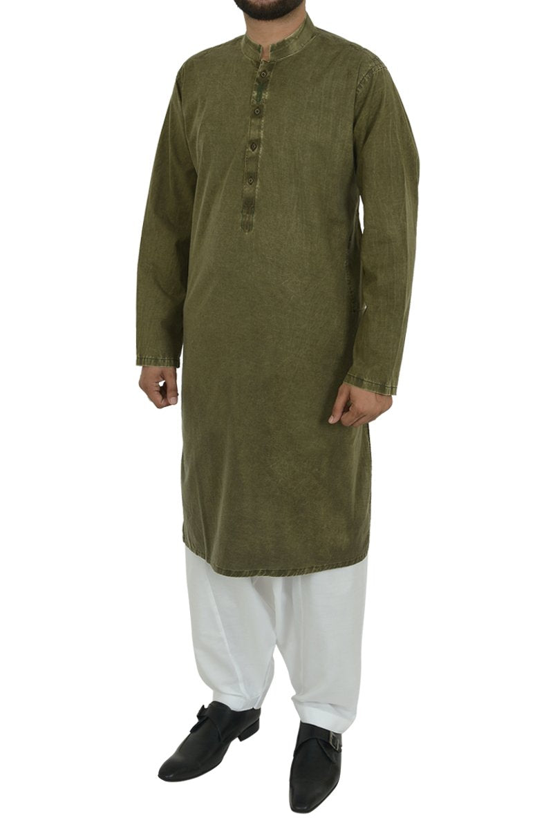 Image of Men Men Kurta in Olive Green SKU: RDK-40104-Small-Olive Green