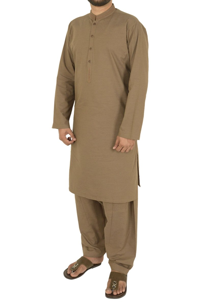 Image of Men Men Shalwar Qameez in Clay Brown SKU: RQ-40206-Small-Clay Brown