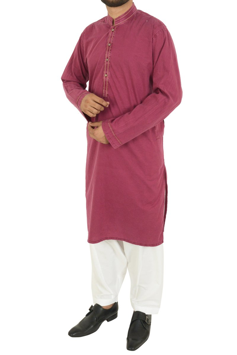 Image of Men Men Kurta in Persian Maroon SKU: RDK-40101-Small-Persian Maroon