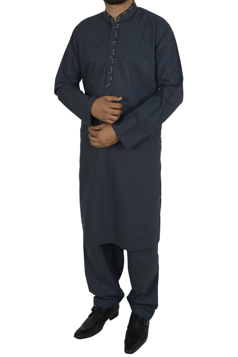 Image of Men Men Shalwar Qameez in Greyish Blue SKU: RQ-40207-Small-Greyish Blue