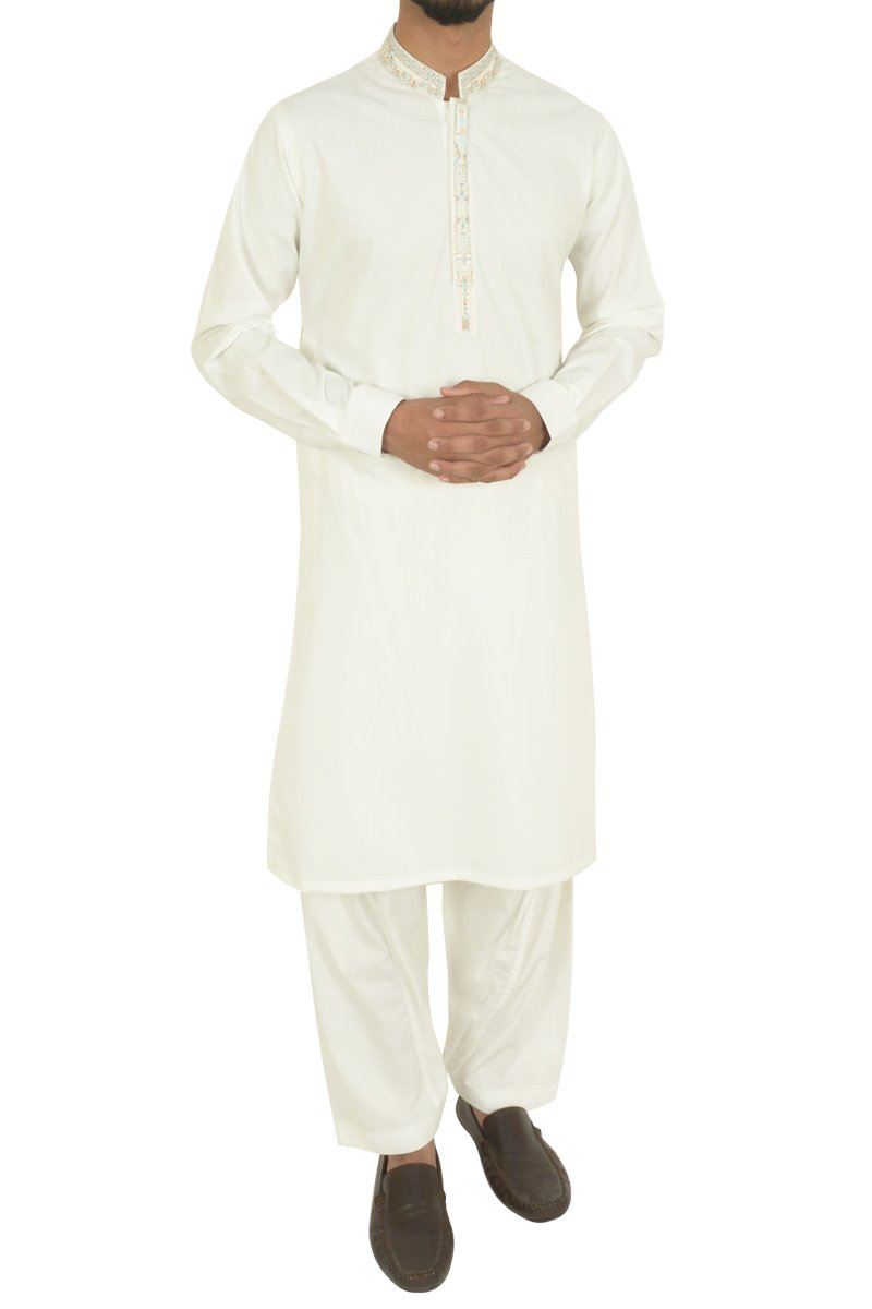 Off White Shalwar Qameez For Boys BQ-40602