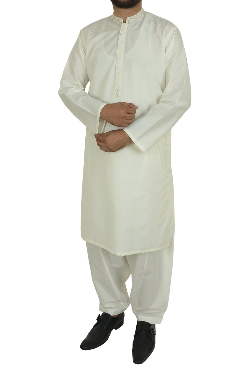 Image of Men Men Shalwar Qameez in Cream SKU: RQ-40201-Small-Cream