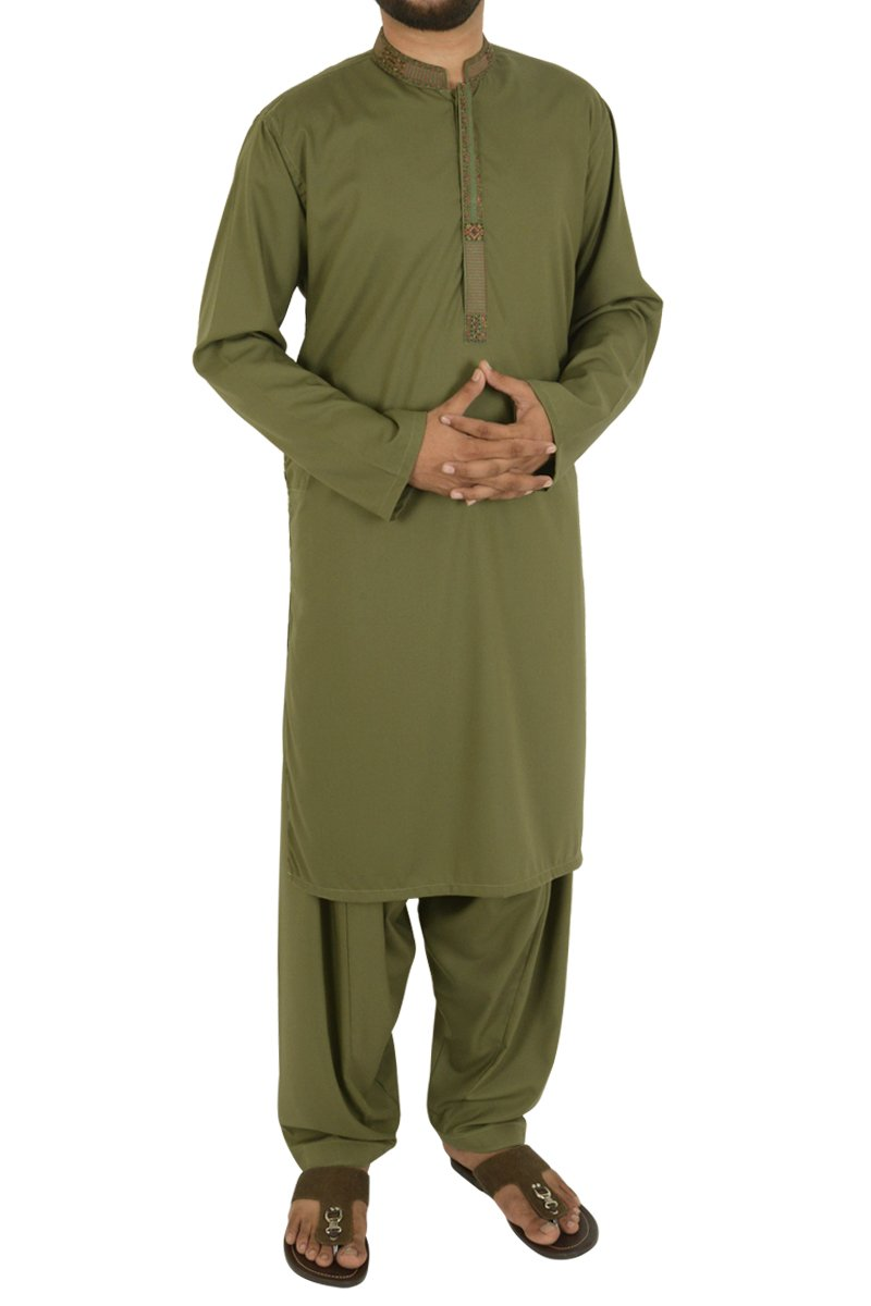 Image of Men Men Shalwar Qameez in Olive Green SKU: RQ-40202-Small-Olive Green