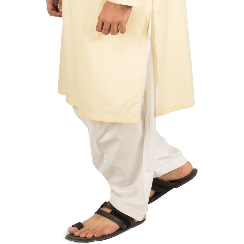 Image of Men Shalwar in Milky White SKU: RCS-101-Small-Milky White