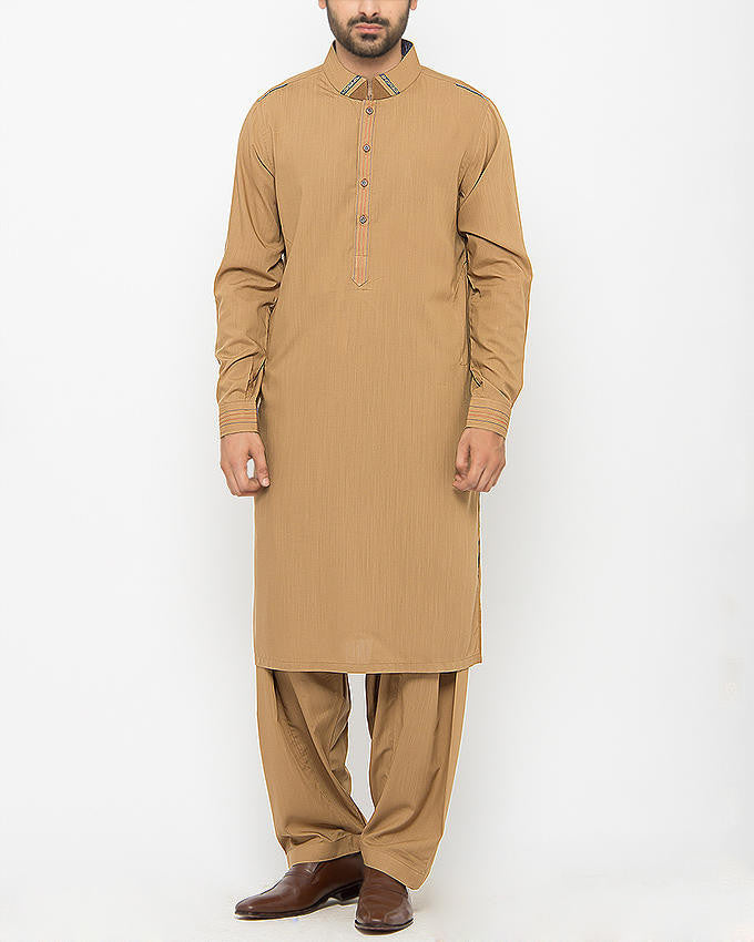 Image of Men Men Shalwar Qameez Golden Brown Shalwar Qameez SUIT in Textured Blended Fabric With Applique and Thread Work. Product Code RQ-15090