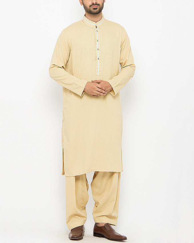 Image of Men Men Shalwar Qameez Light Gold Shalwar Qameez Suit in Blended (Ayudhia ) Fabric With Applique and Thread Wok. Product Code RQ-15091