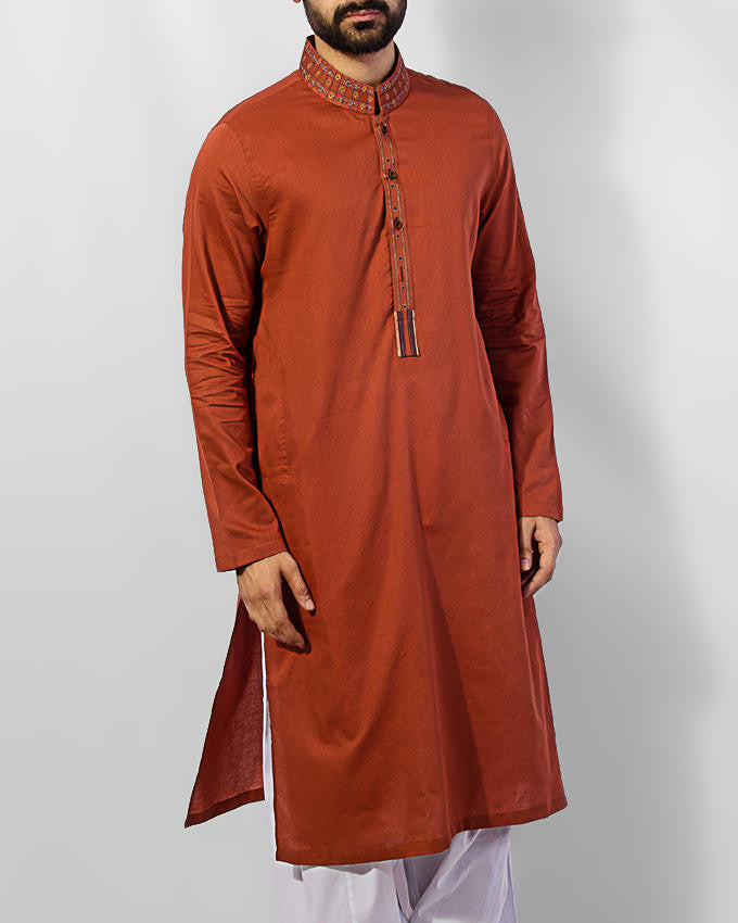 Image of Men Men Kurta in Rust SKU: RK-15026-Small-Rust