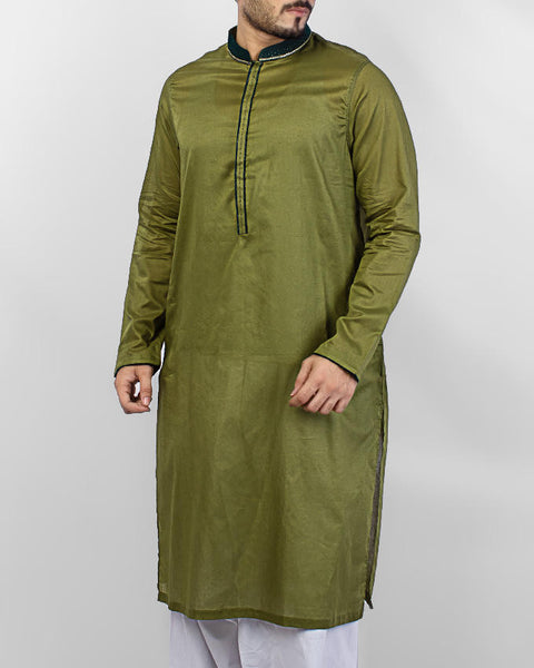 Fresh Green Kurta with embroidery and applique workProduct Code RK-15074