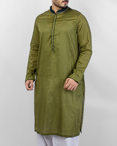 Image of Men Men Kurta Fresh Green Kurta with embroidery and applique workProduct Code RK-15074