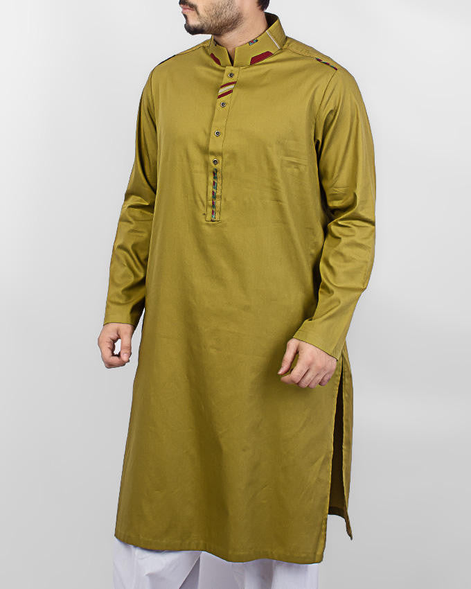 Olive Green Kurta with applique work Product Code RK-15062