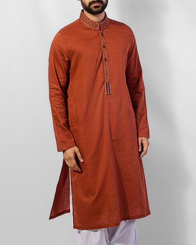Image of Men Men Kurta Rust Colored Kurta in fine cotton Fabric with Sleek embroidery.Product Code RK-15026