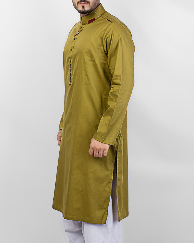 Image of Men Men Kurta in Olive Green SKU: RK-15062-Small-Olive Green