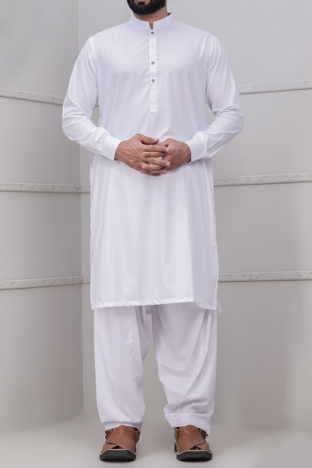 Off White Shalwar Qameez for Men RQ-40327