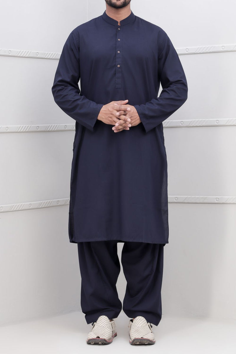 Navy Blue Shalwar Qameez for Men RQ-40234