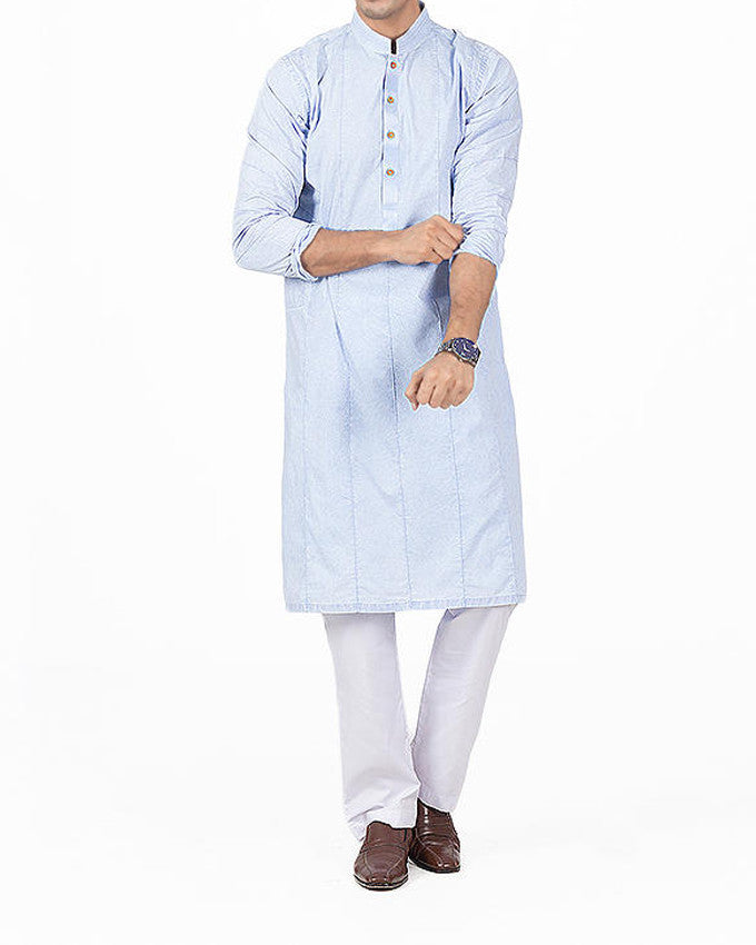 Image of Men Men Kurta Light Blue designer Kurta With Italian Washes Product Code RDK-16136